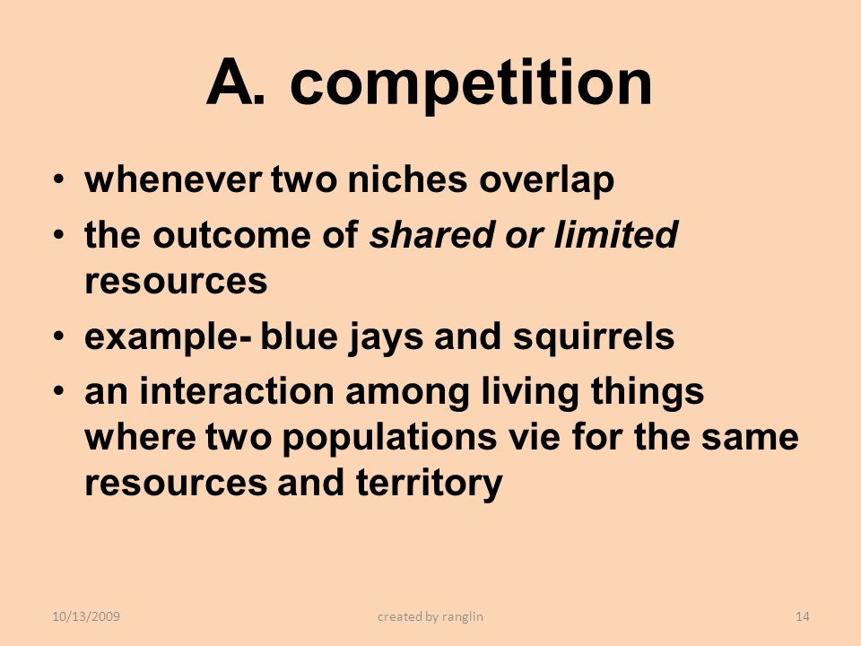 A. competition whenever two niches overlap