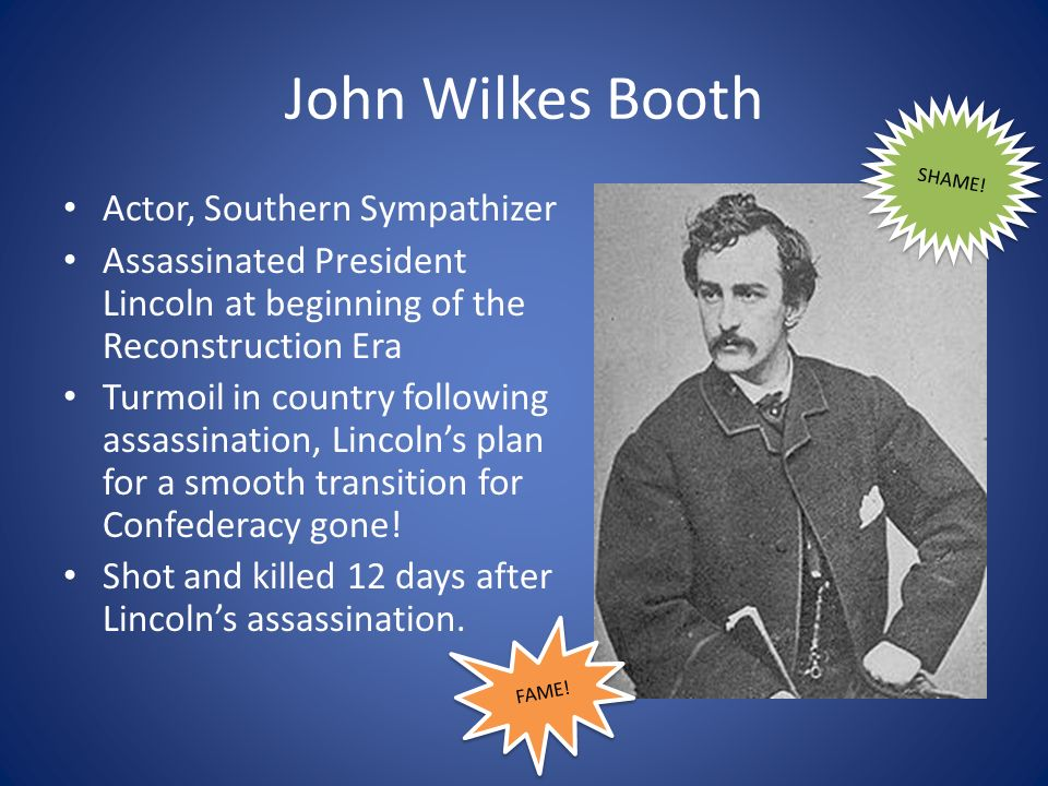 John Wilkes Booth Actor, Southern Sympathizer
