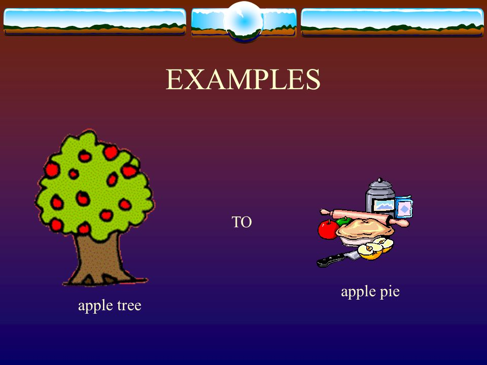 EXAMPLES TO apple pie apple tree