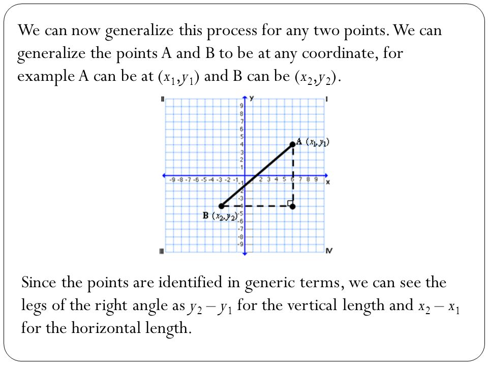 We can now generalize this process for any two points