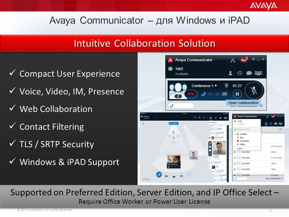 Avaya Communicator – для Windows и iPAD