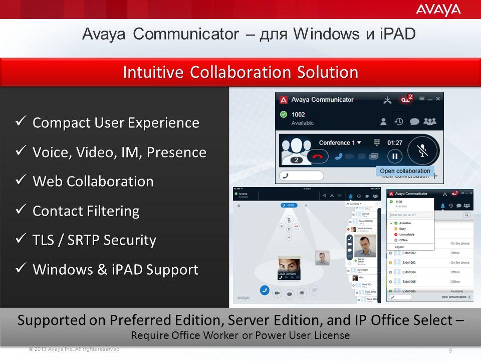 Avaya Communicator – для Windows и iPAD
