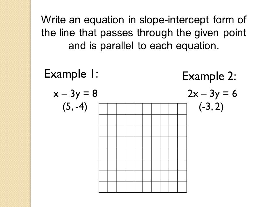 Write an equation in slope-intercept form of the line that passes through the given point and is parallel to each equation.