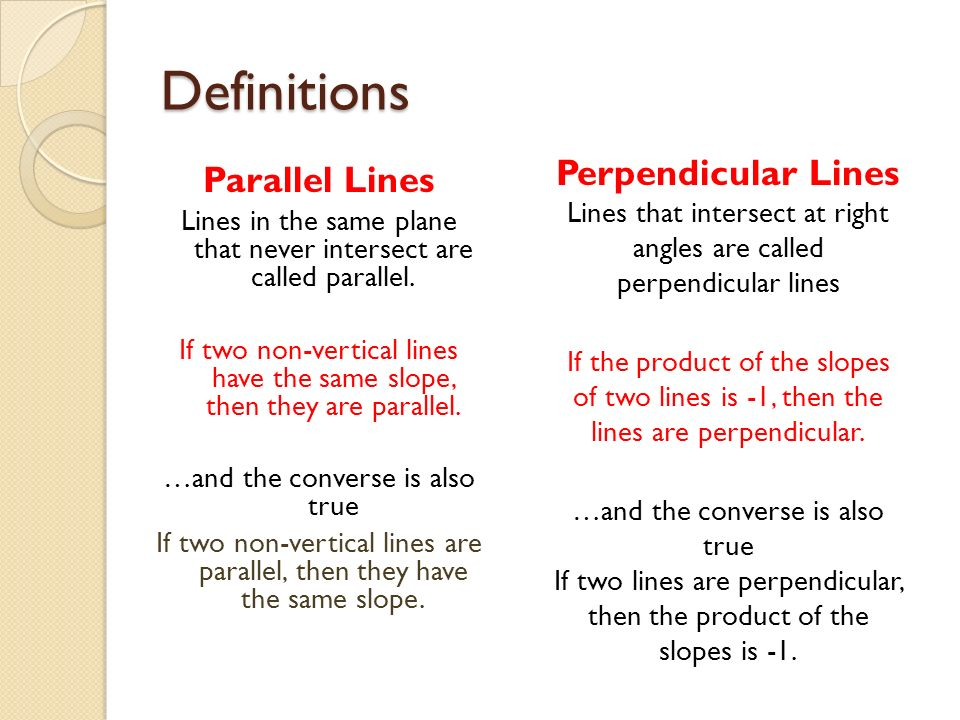 Definitions Perpendicular Lines Parallel Lines