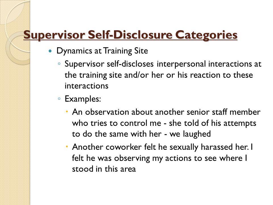 Supervisor Self-Disclosure Categories