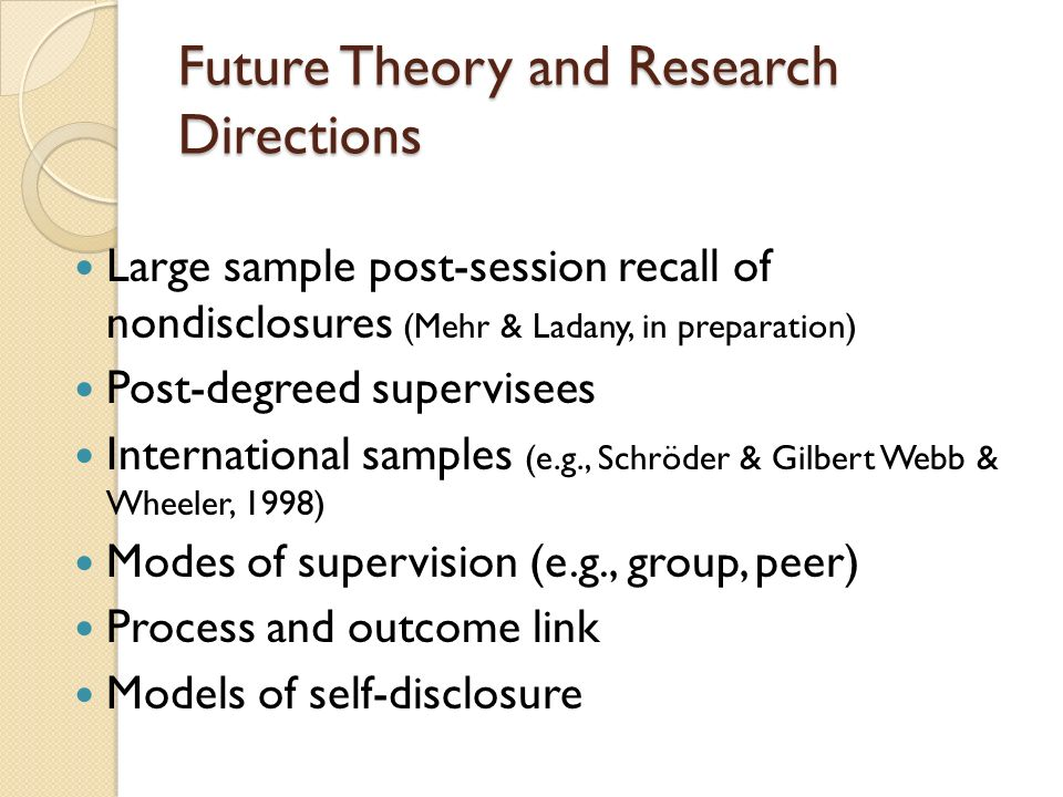 Future Theory and Research Directions