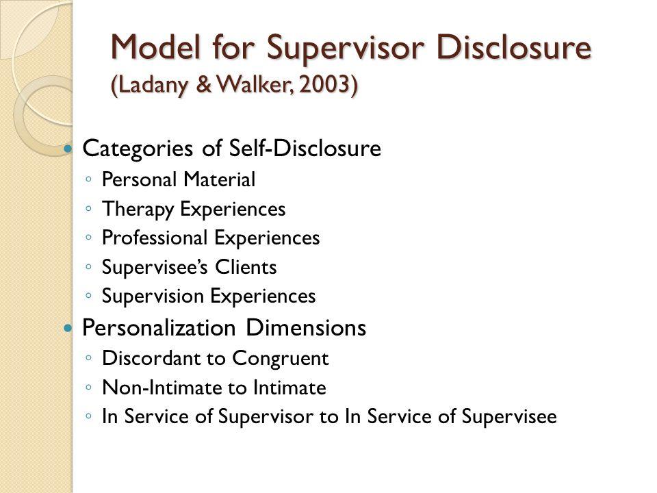 Model for Supervisor Disclosure (Ladany & Walker, 2003)