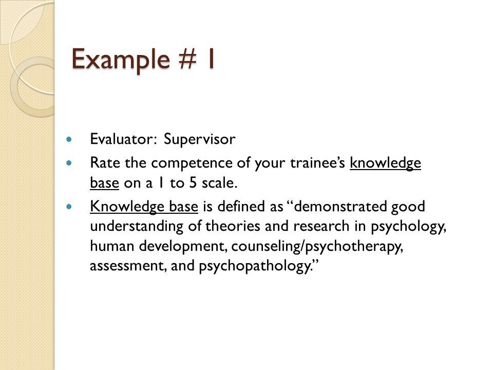 Example # 1 Evaluator: Supervisor