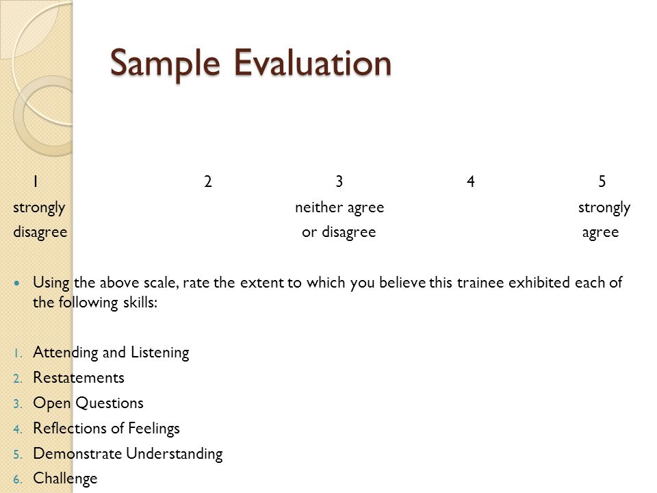 Sample Evaluation 1 2 3 4 5 strongly neither agree strongly