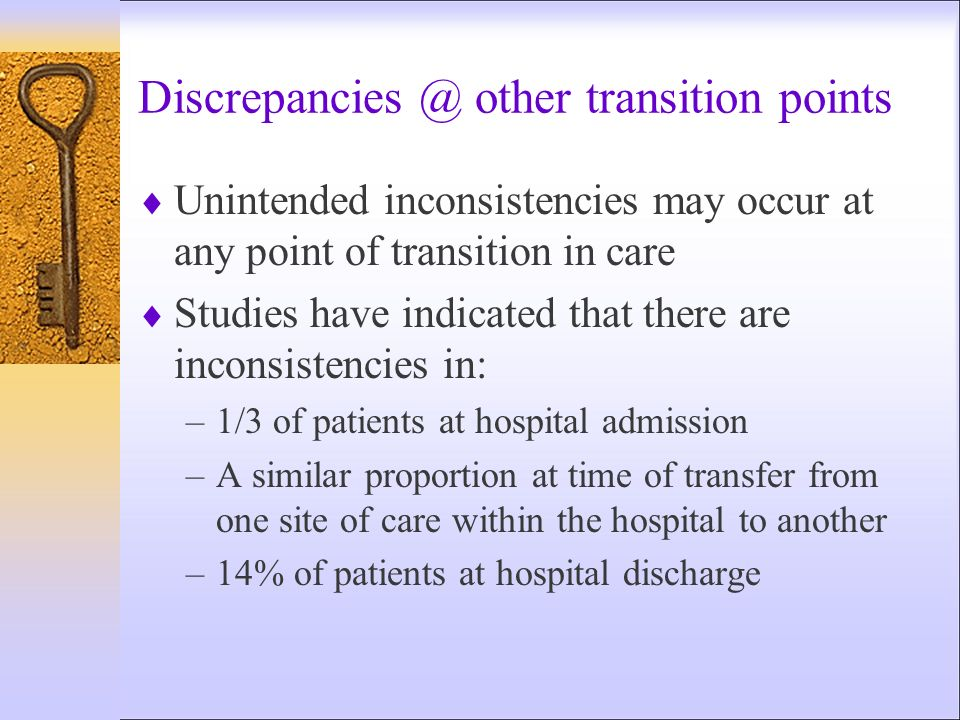Discrepancies @ other transition points