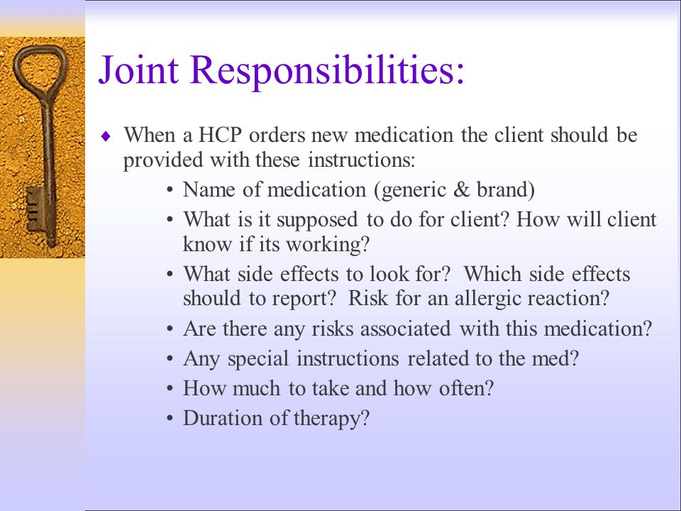 Joint Responsibilities: