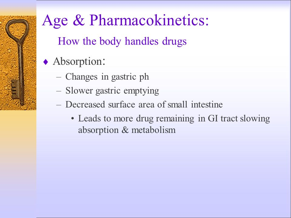 Age & Pharmacokinetics: How the body handles drugs