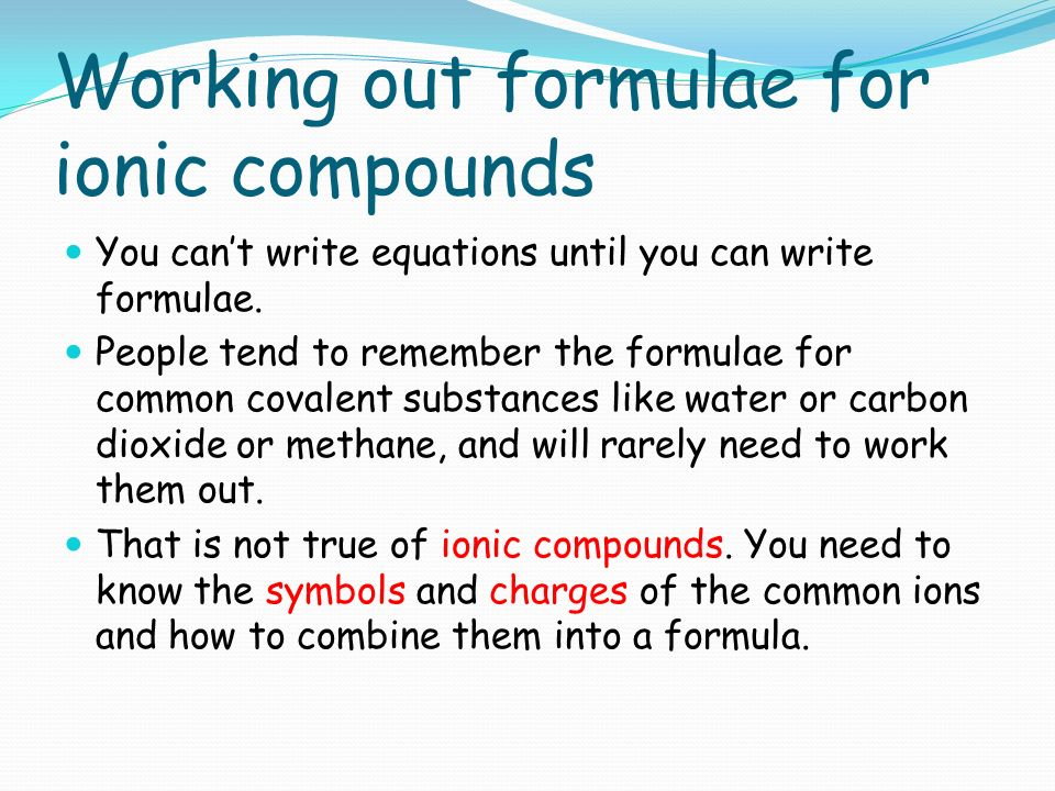how to write an ionic compound formulae