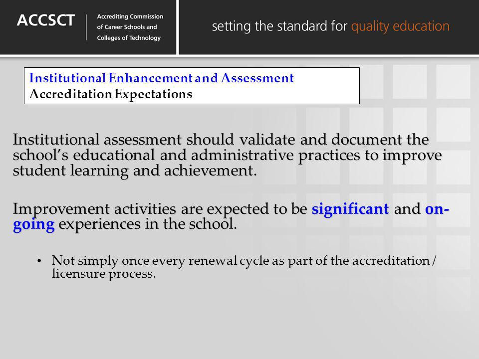 Institutional Enhancement and Assessment Accreditation Expectations