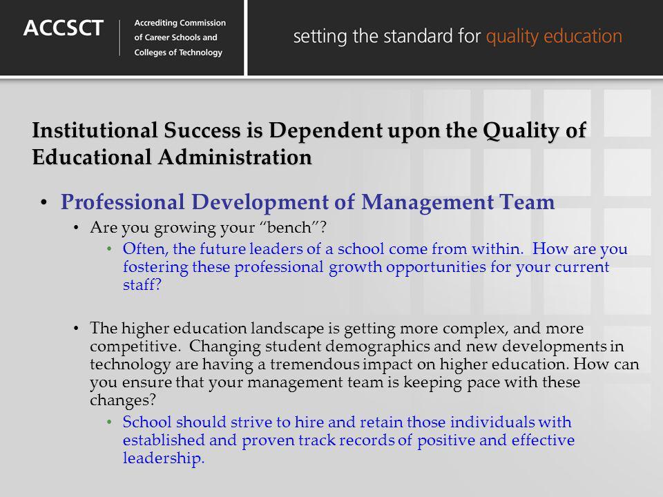 Professional Development of Management Team