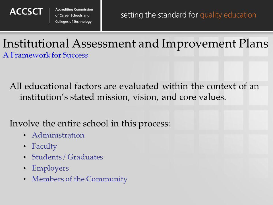 Institutional Assessment and Improvement Plans A Framework for Success