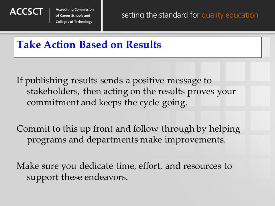 Take Action Based on Results