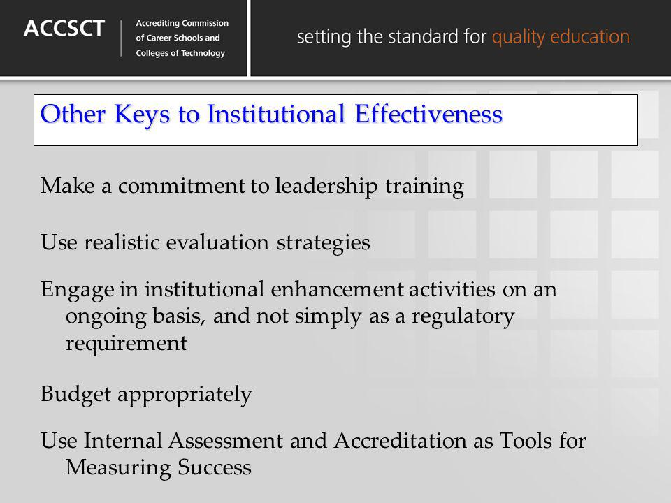 Other Keys to Institutional Effectiveness