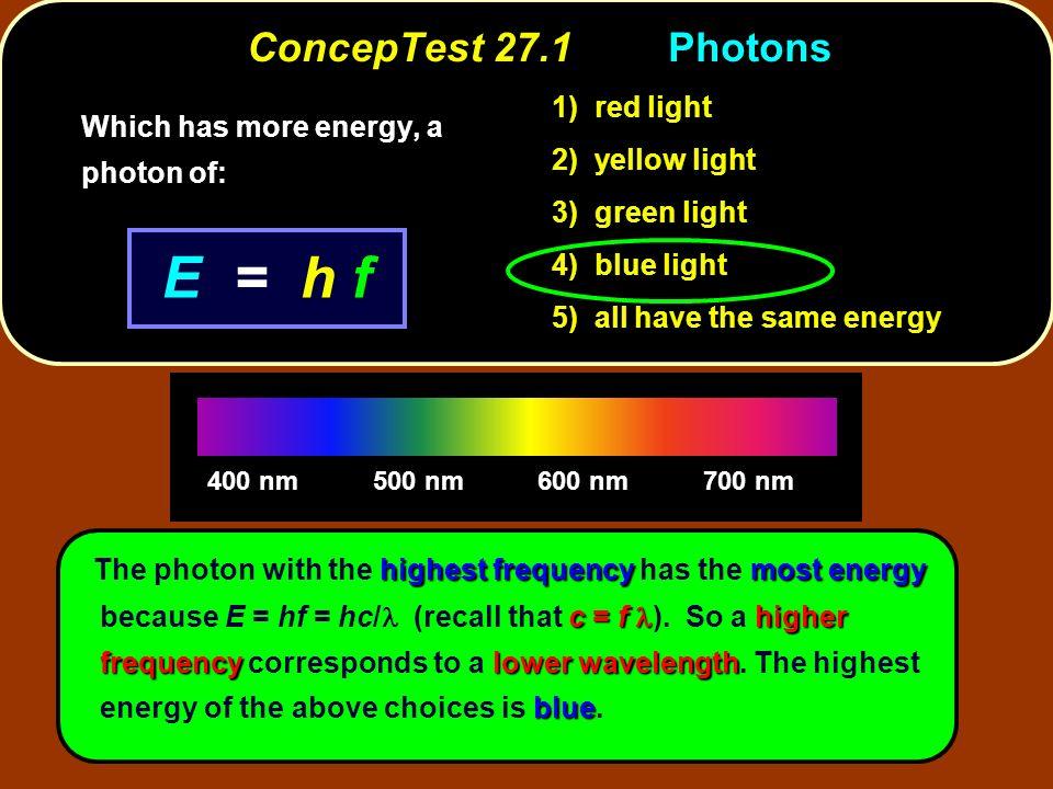 E = h f ConcepTest 27.1 Photons