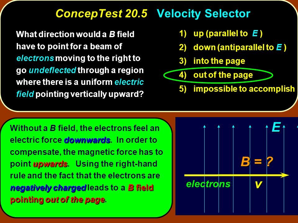 ConcepTest 20.5 Velocity Selector