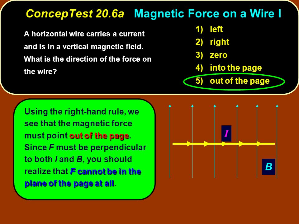 ConcepTest 20.6a Magnetic Force on a Wire I
