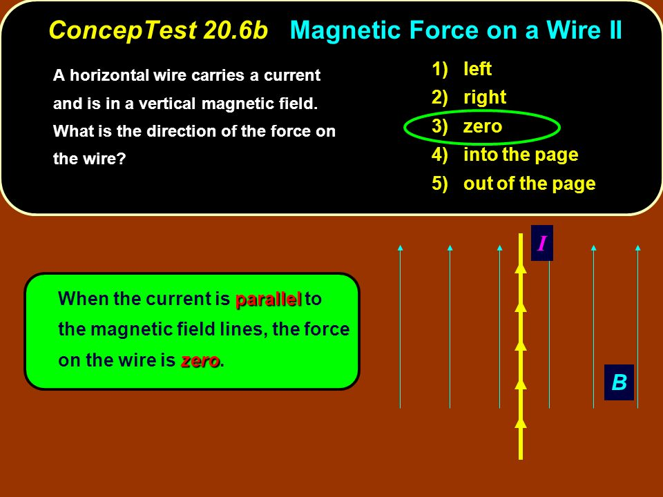 ConcepTest 20.6b Magnetic Force on a Wire II