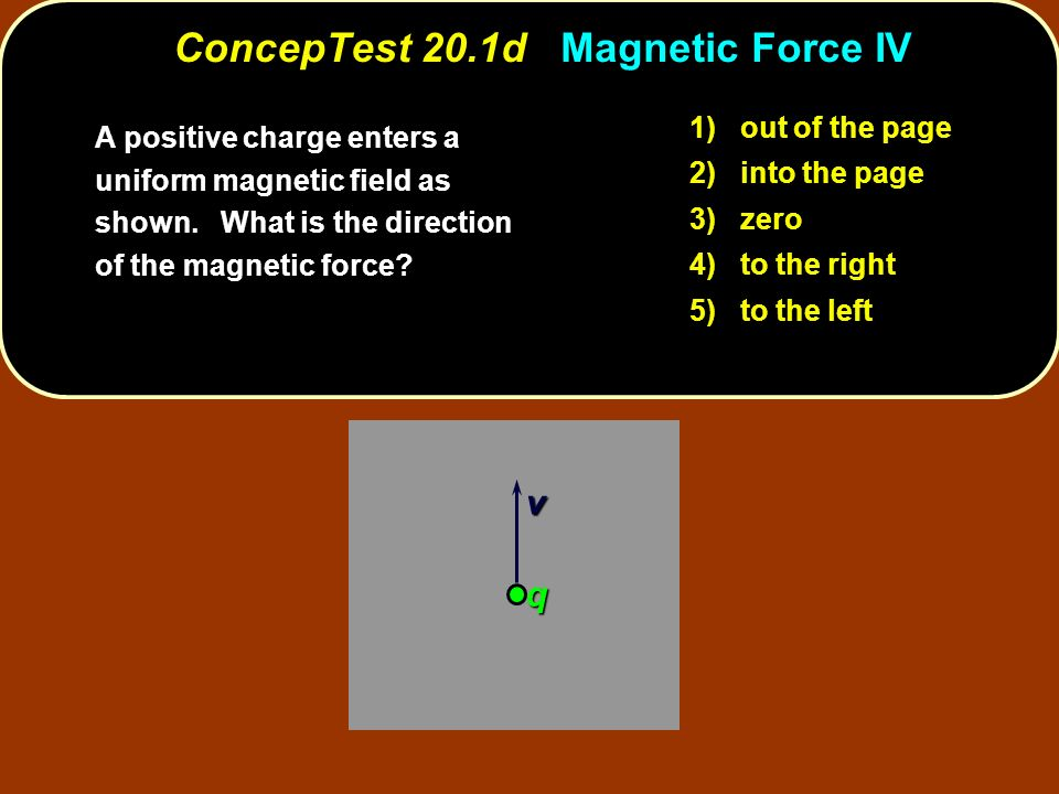 ConcepTest 20.1d Magnetic Force IV