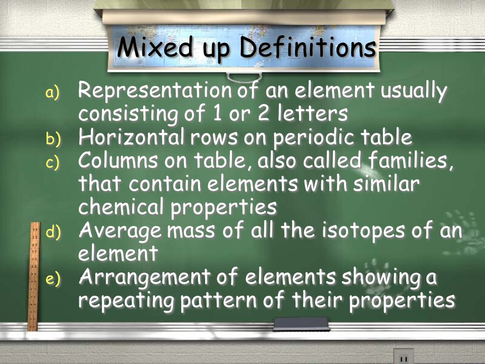 Mixed up Definitions Representation of an element usually consisting of 1 or 2 letters. Horizontal rows on periodic table.
