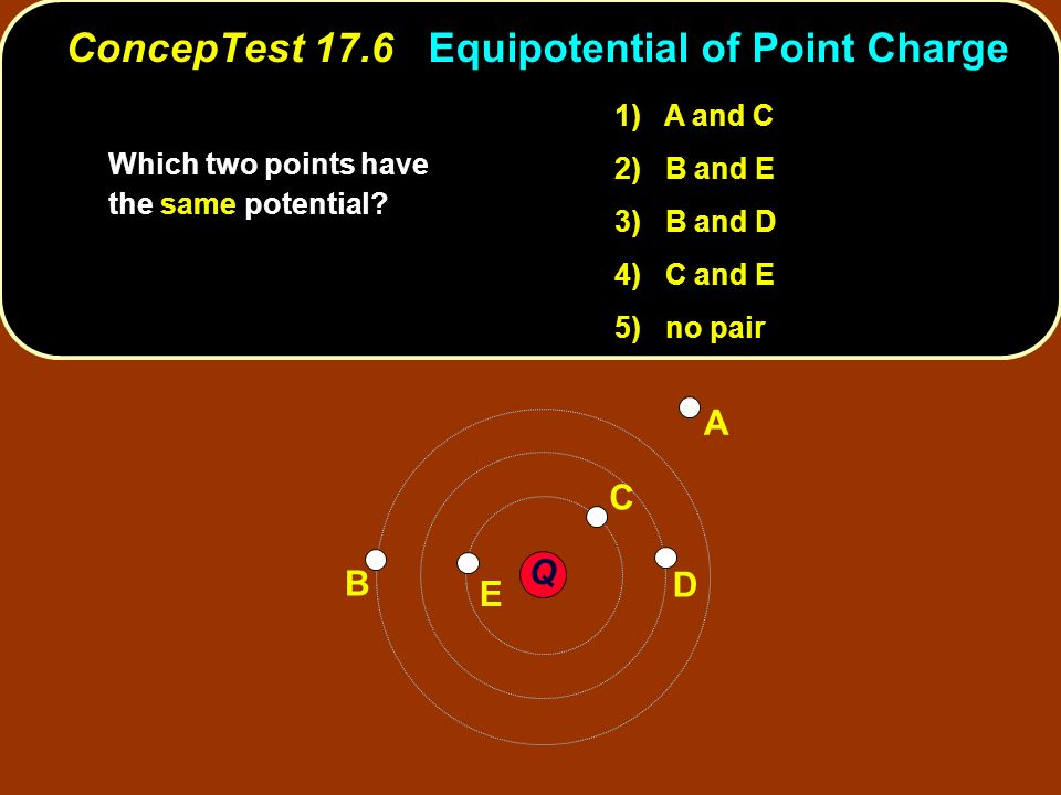 ConcepTest 17.6 Equipotential of Point Charge