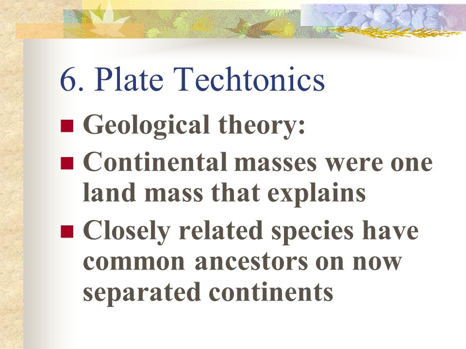 6. Plate Techtonics Geological theory: