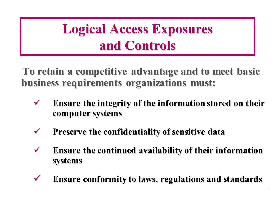 information technology logical security essay Free sample information security essay on information technology security control technical controls are logical and/or software related controls designed to.