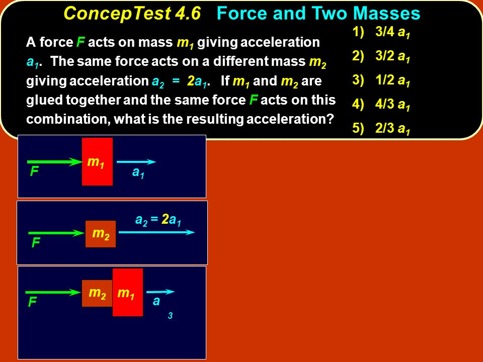 ConcepTest 4.6 Force and Two Masses