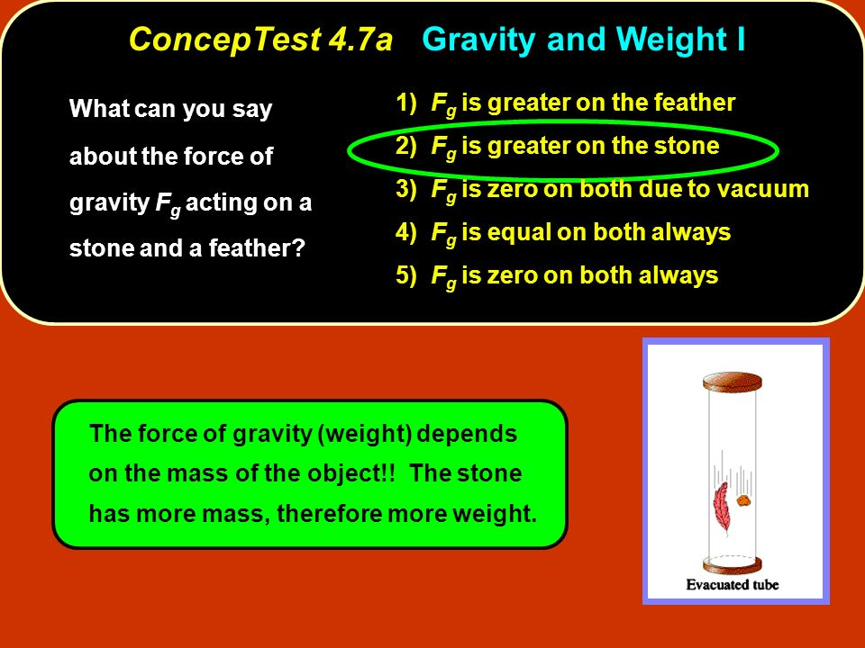 ConcepTest 4.7a Gravity and Weight I