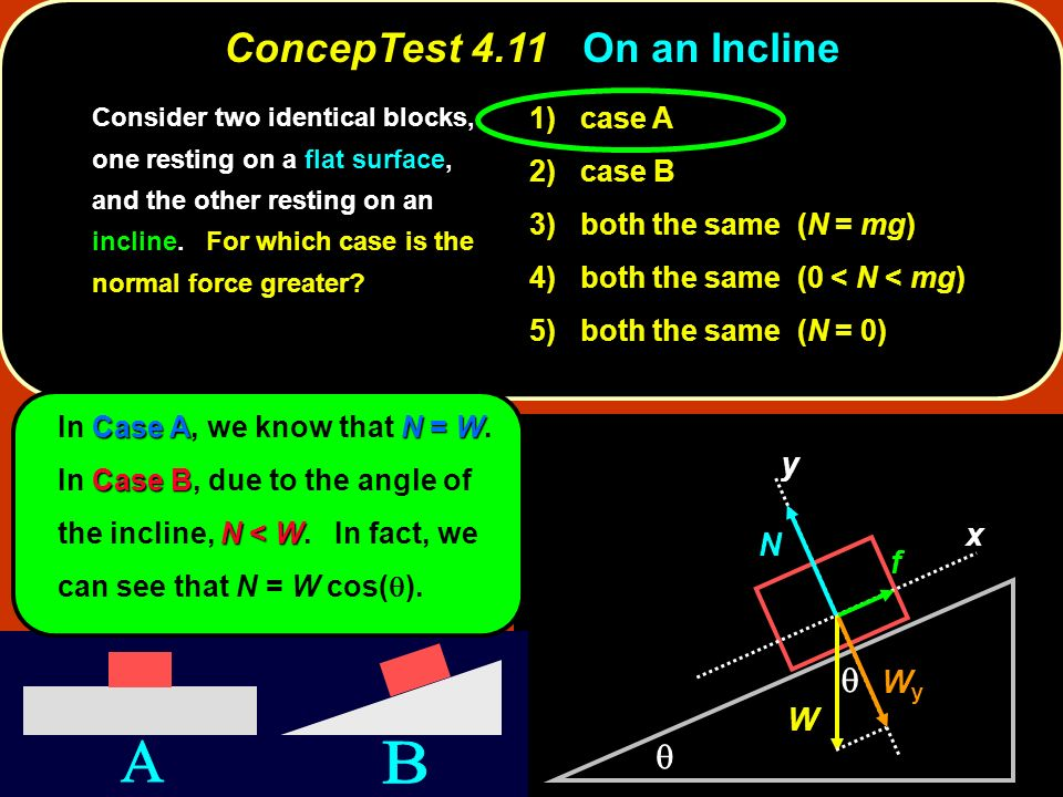 ConcepTest 4.11 On an Incline