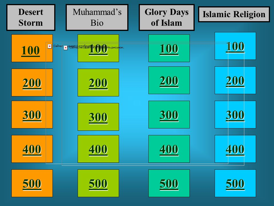 Desert Storm Muhammad's Bio. Glory Days of Islam. Islamic Religion. 100. 100. 100. 100. 200.