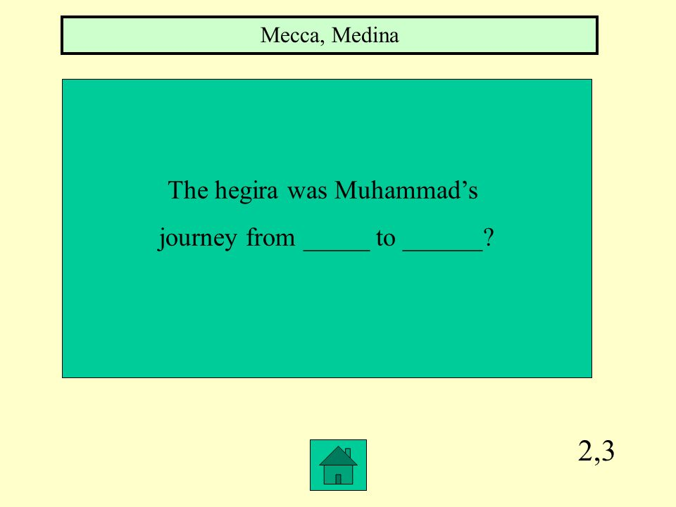 2,3 The hegira was Muhammad's journey from _____ to ______