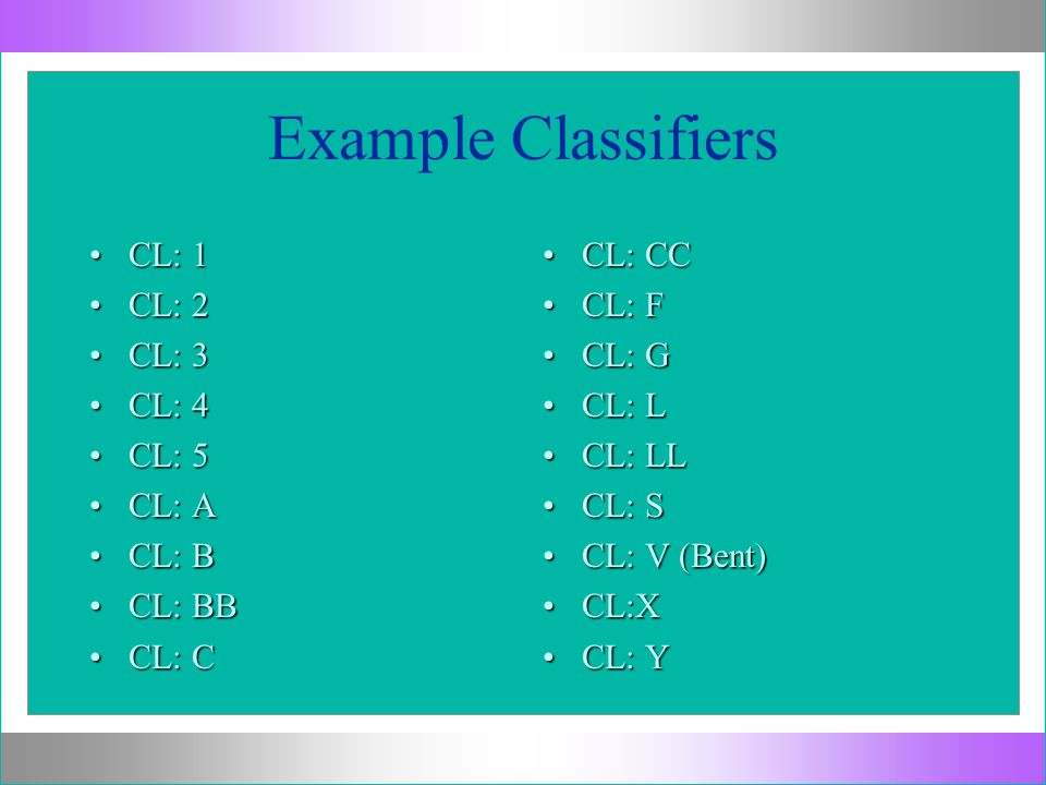 Example Classifiers CL: 1 CL: 2 CL: 3 CL: 4 CL: 5 CL: A CL: B CL: BB