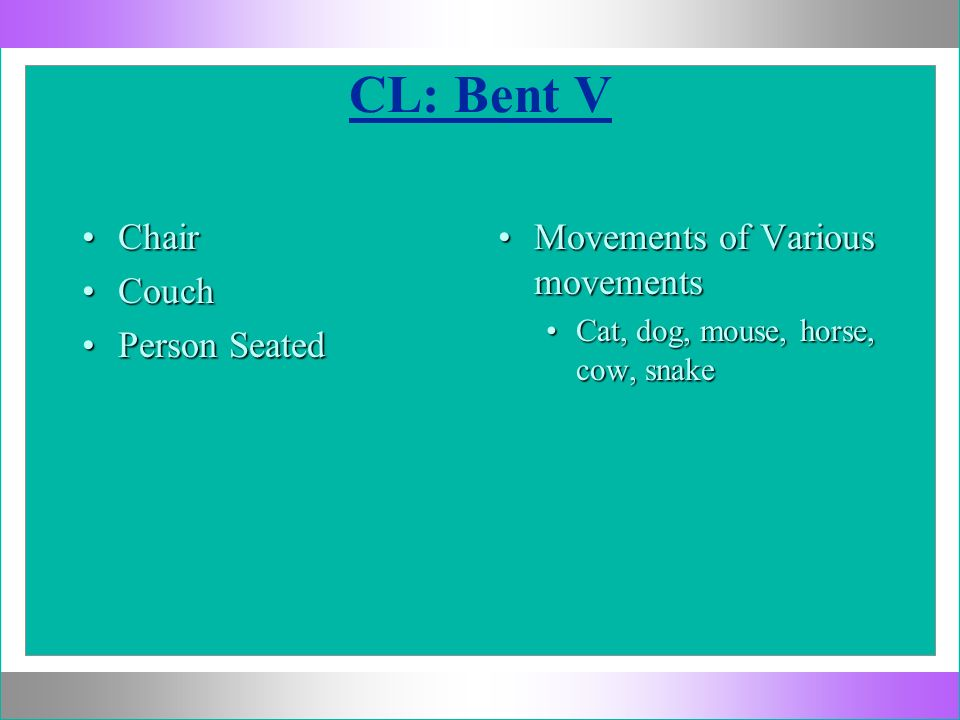 CL: Bent V Chair Couch Person Seated Movements of Various movements