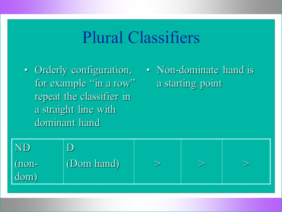 Plural Classifiers Orderly configuration, for example in a row repeat the classifier in a straight line with dominant hand.