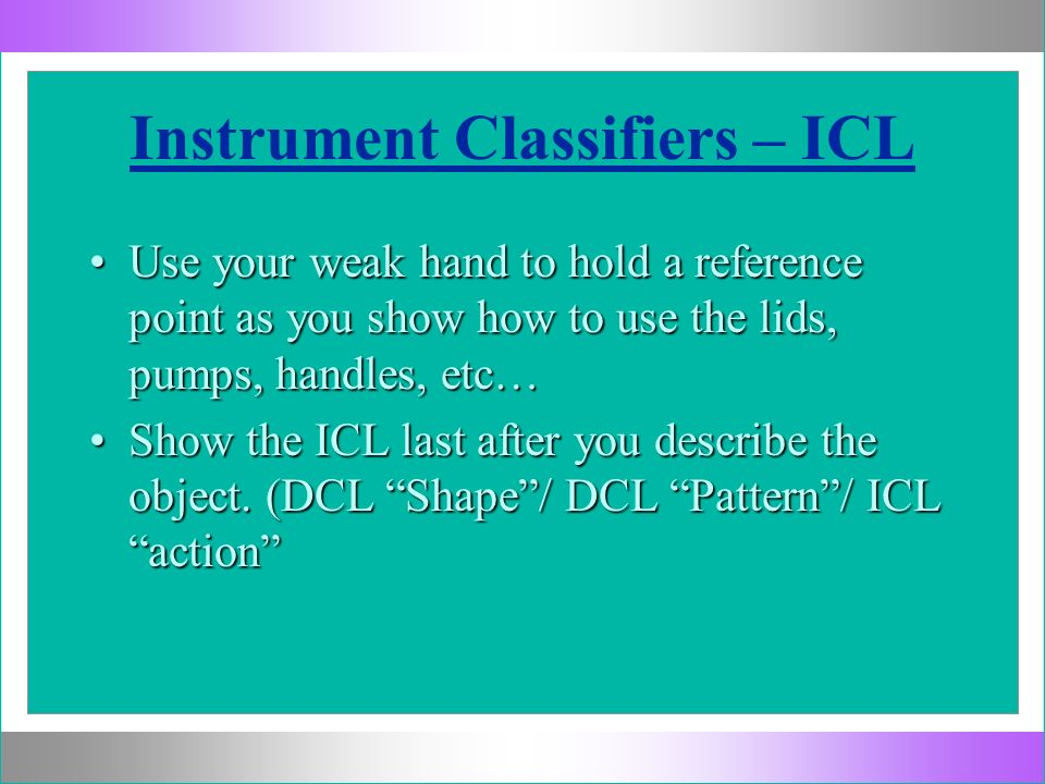 Instrument Classifiers – ICL