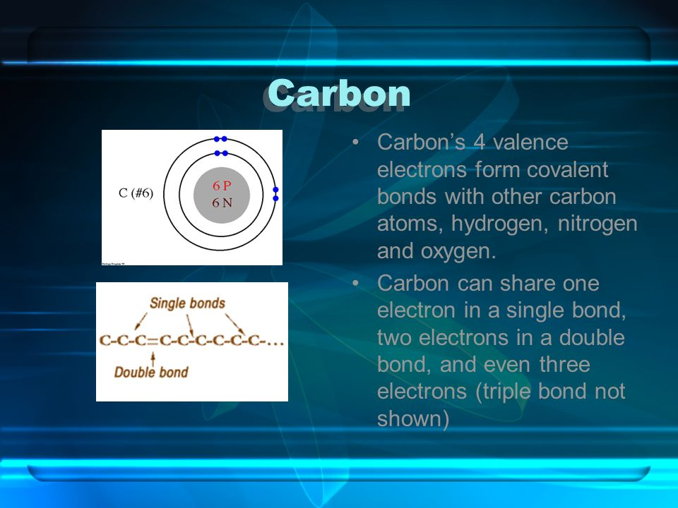 Carbon Carbon's 4 valence electrons form covalent bonds with other carbon atoms, hydrogen, nitrogen and oxygen.