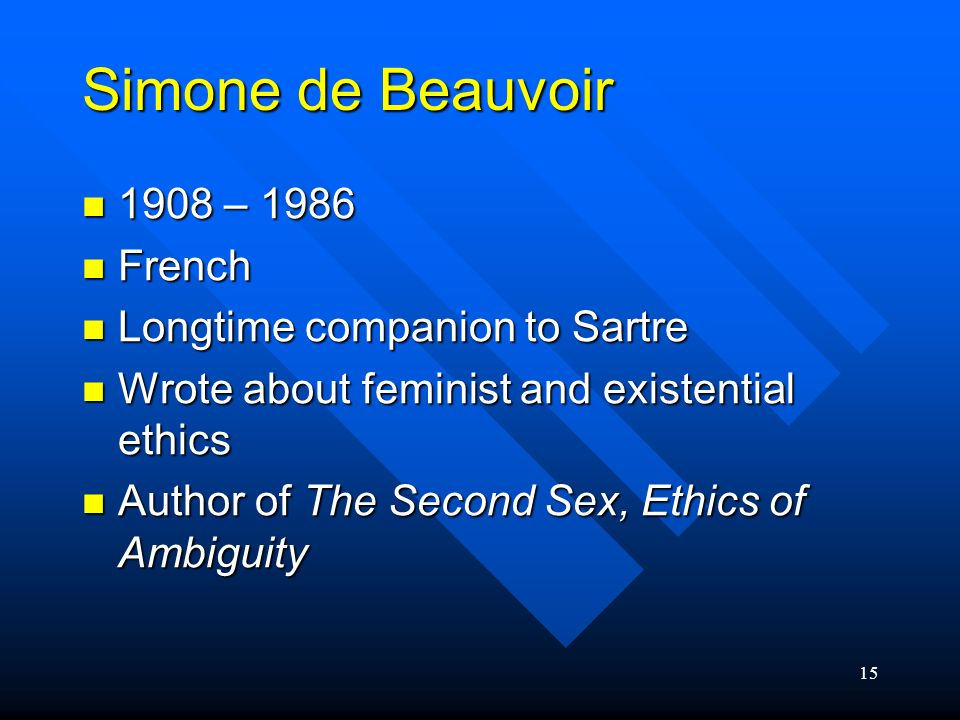 Simone de Beauvoir 1908 – 1986 French Longtime companion to Sartre