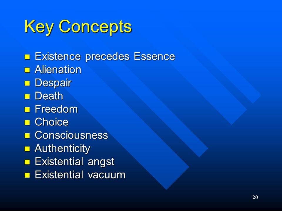 Key Concepts Existence precedes Essence Alienation Despair Death