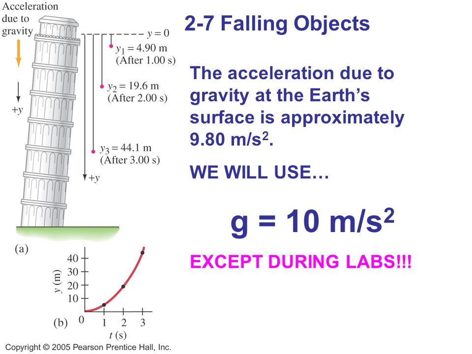 g = 10 m/s2 2-7 Falling Objects