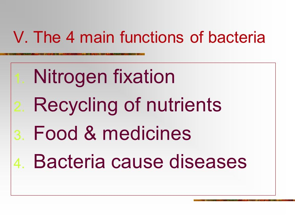 V. The 4 main functions of bacteria
