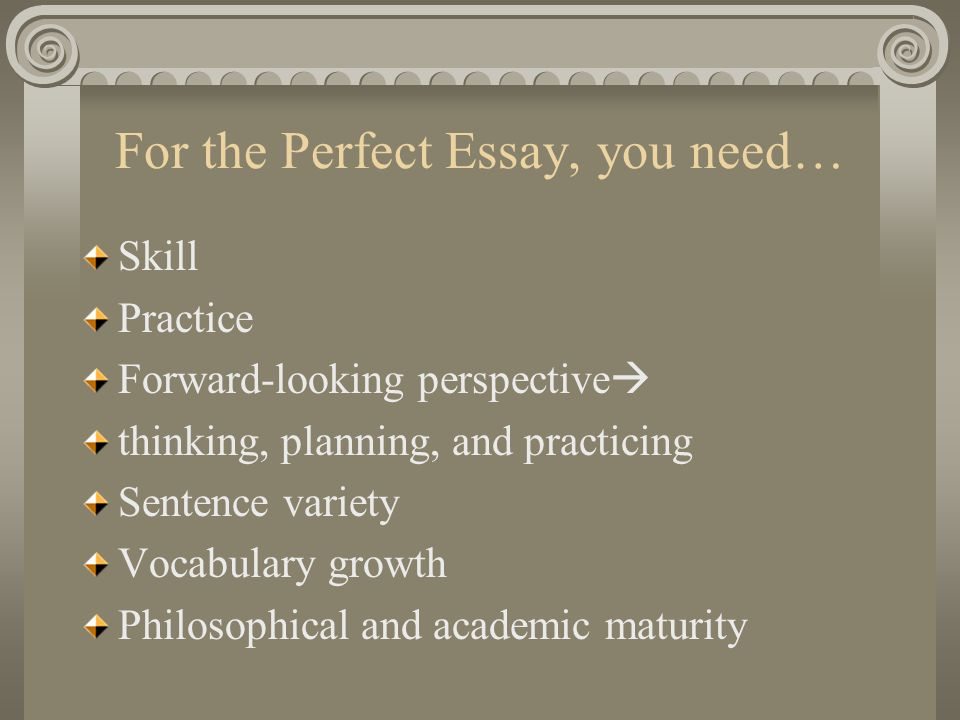 For the Perfect Essay, you need…