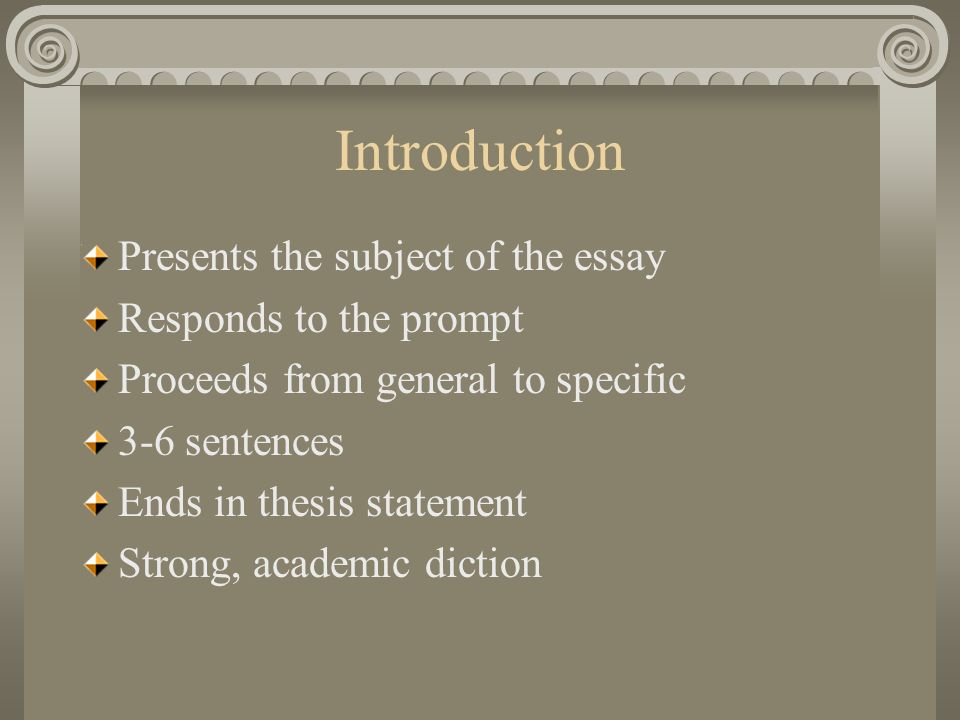 Introduction Presents the subject of the essay Responds to the prompt