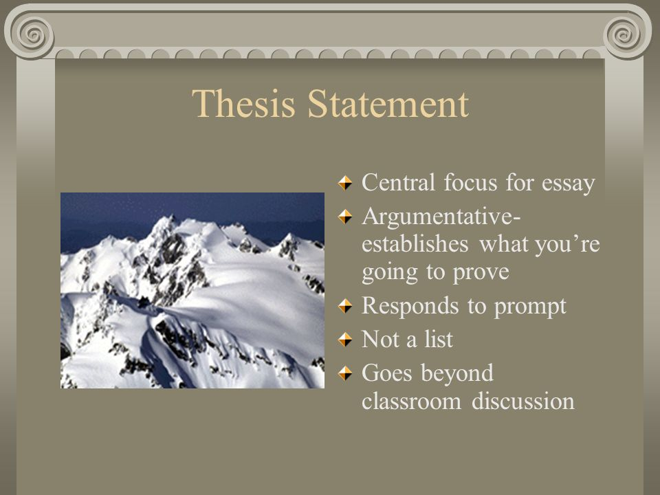 Thesis Statement Central focus for essay