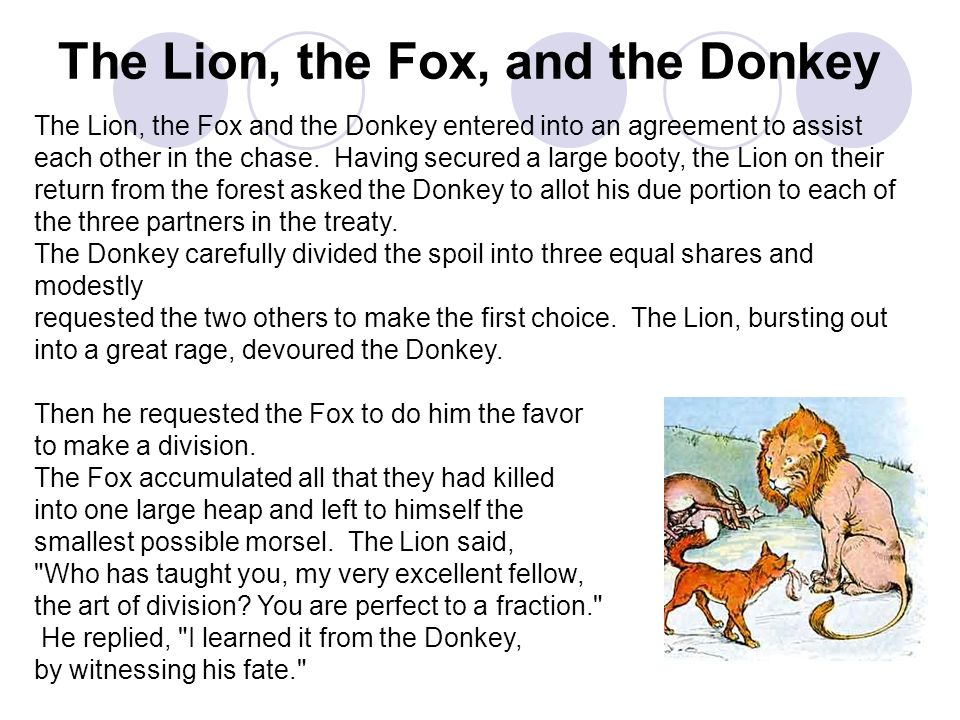 The Lion, the Fox, and the Donkey