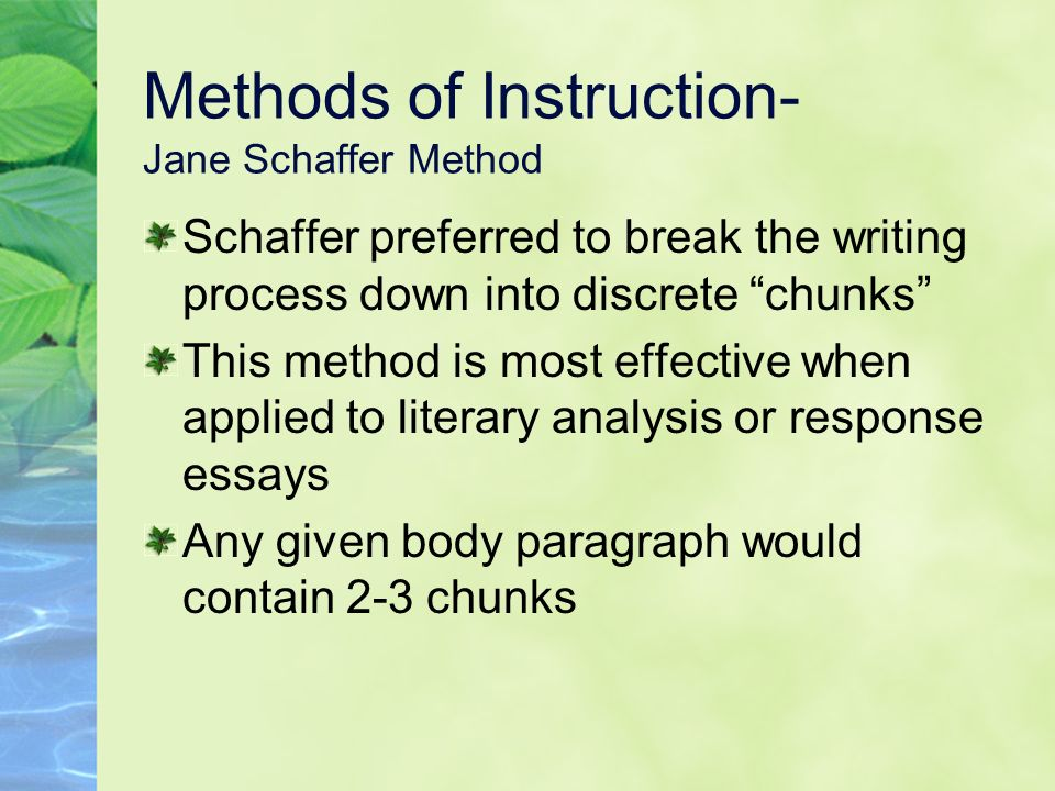 jane schaffer essay writing method Jane schaffer writing strategy how to write an effective paragraph created by hollie gustke get ready to color your world how to write an effective paragraph.